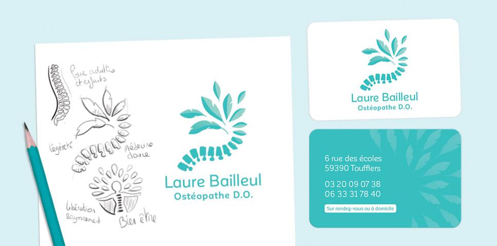Logo Et Cartes De Visite Laure Bailleul, Ostéopathe D.O