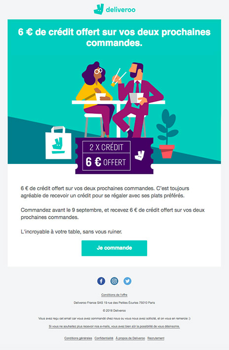 Exemple de design emailing - Deliveroo