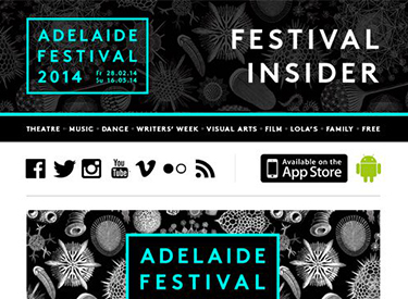 Campaign Monitor newsletter - Adelaide Festival