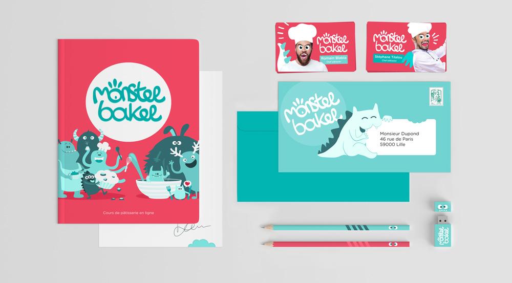 Création de l'identité visuelle d'un site de cours de pâtisserie en ligne sur différents supports print