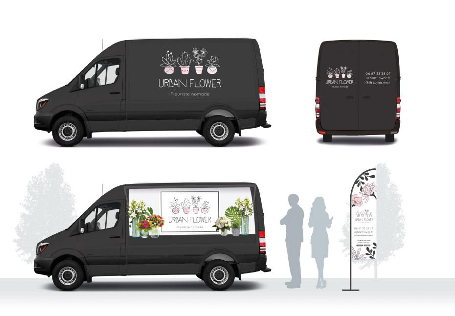 Flower truck de la nouvelle identité graphique pour Urban Flower, fleuriste nomade - Lille