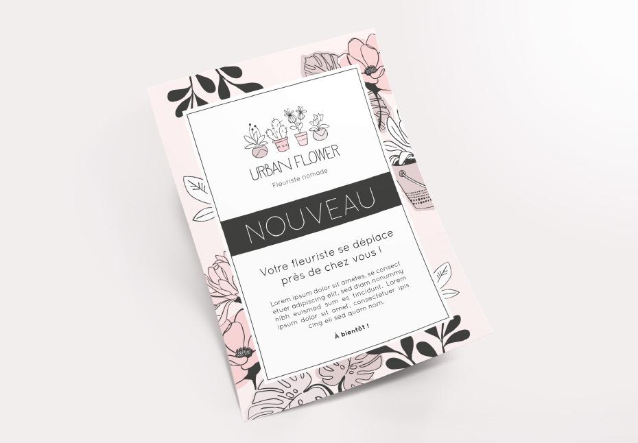 Flyer de la nouvelle identité graphique pour Urban Flower, fleuriste nomade - Lille
