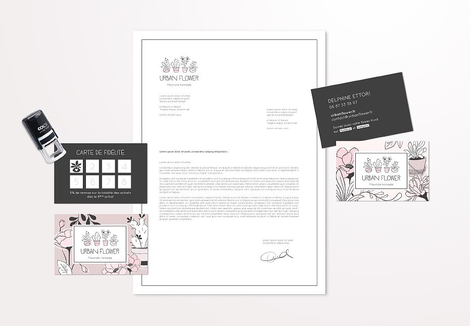 Papeterie de la nouvelle identité graphique pour Urban Flower, fleuriste nomade - Lille