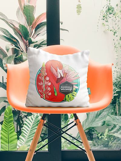 Coussin tropical illustré