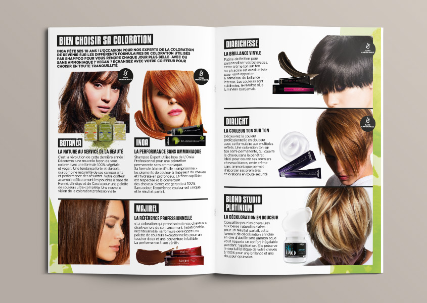Mise en page du Création du magazine Top Shampoo