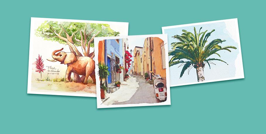 Illustrations aquarelle style carnet de voyage